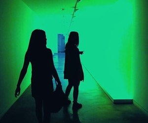 girl, light, and green image