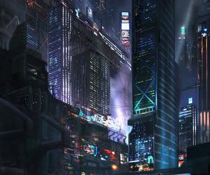 city, cyberpunk, and fantasy image