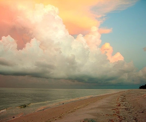 beach, pink, and clouds image