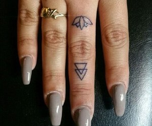girl, tattoo, and finger tattoo image