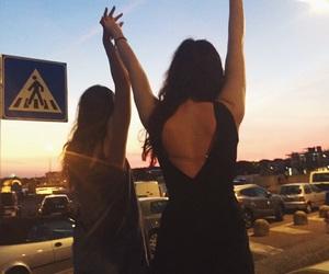 beach, friendship, and sunset image