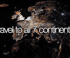 bucket list, continents, and travel image