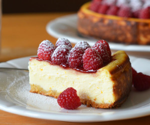 cake, cheesecake, and raspberry image