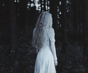 Darkness, girl, and forest image