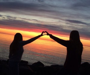 friendship, sea, and sunset image