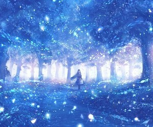 anime, tree, and blue image