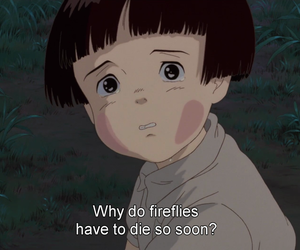 grave of the fireflies, movie, and sad image