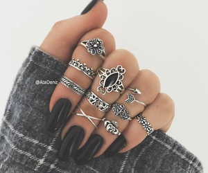 black, rings, and bohemian image