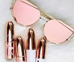 pink, sunglasses, and lipstick image