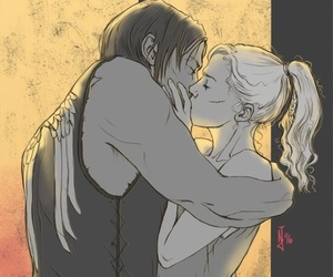 couple, fan art, and daryl dixon image