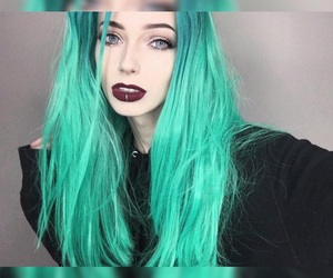 green, hair, and hairstyles image