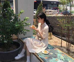 asian, girl, and plants image