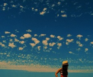 clouds, girl, and hat image