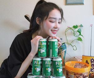 ulzzang, asian, and drink image
