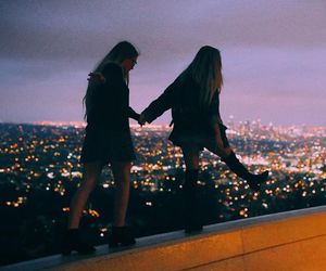 girl, friends, and city image