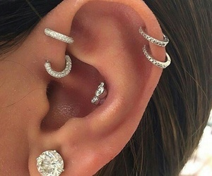 piercing, diamond, and earrings image