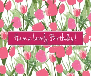 birthday card, flowers, and pink image