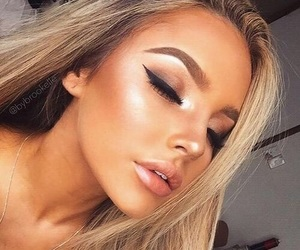 girl, make up, and sparkle image