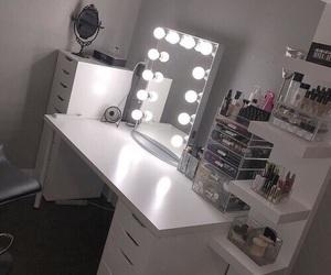 makeup, vanity, and bedroom image