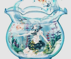 glass, water, and anime image