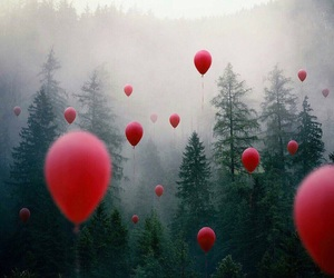 forest, balloons, and red image