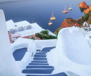 travel, beautiful, and santorini image