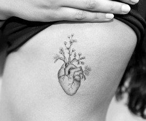 black and white, tattoo, and heart image