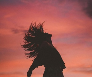 girl, sunset, and hair image