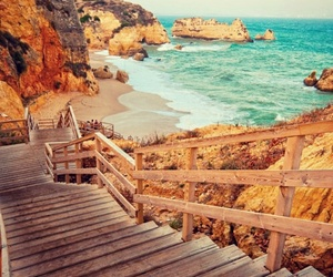 sand, sea, and stairs image