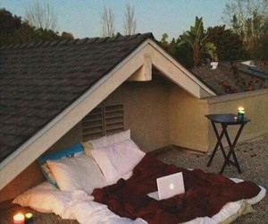 bed, roof, and house image