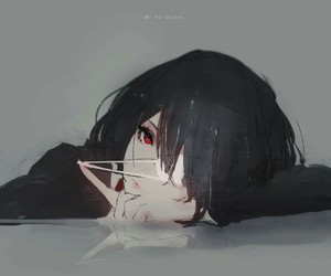 anime, fan art, and red eye image