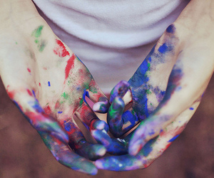 hands, paint, and photography image