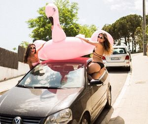 car, pool, and friends image