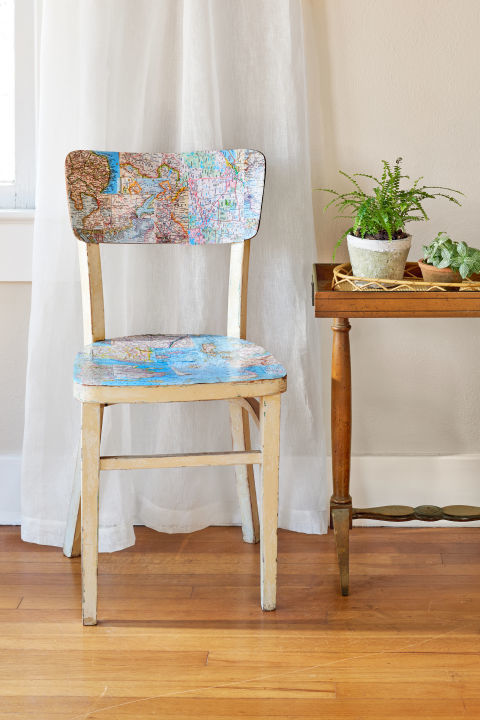 chair, decoupage, and maps image