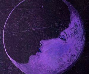 moon, purple, and art image