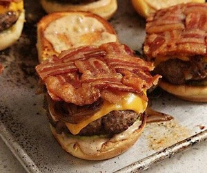 bacon, burger, and delicious image