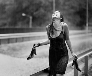 rain, black and white, and happy image