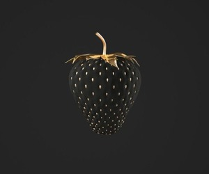 black, strawberry, and gold image