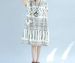 dress, linen dress, and long dress image