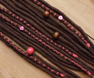 coral, hair wrap, and felted dreads image