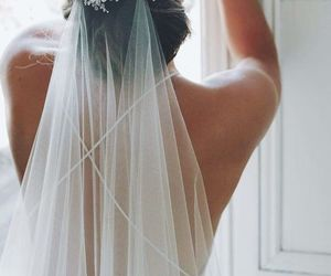 wedding, bride, and veil image