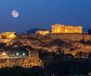 Athens, moon, and Greece image