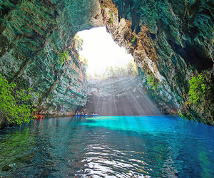 cave, melissani, and Greece image