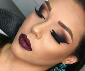 dark lips, dramatic, and makeup image