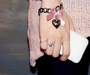 pink, bracelet, and heart image