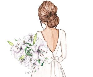 flowers, dress, and illustration image