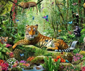 art, fantasy, and tiger image