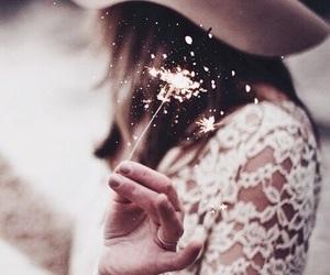 light, fireworks, and rose gold image