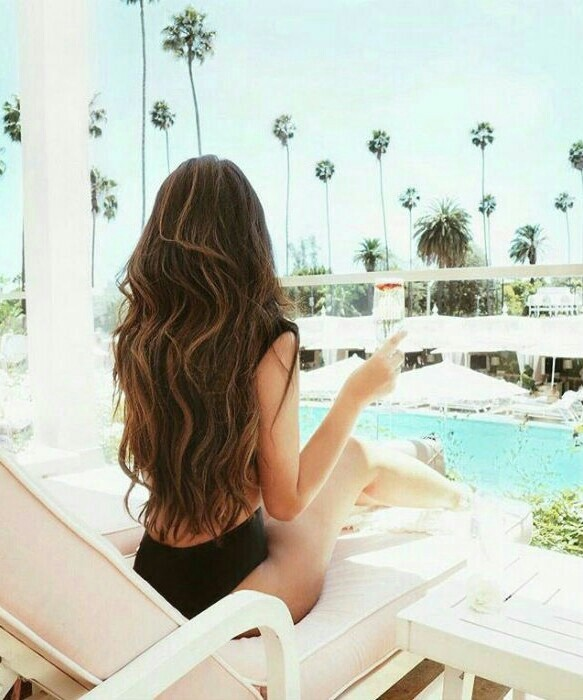 summer, hair, and pool image