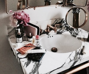 bathroom, flowers, and luxury image